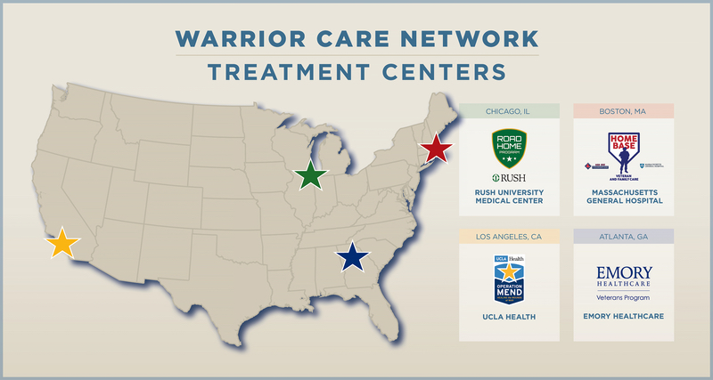 Map of Warrior Care Network treatment centers